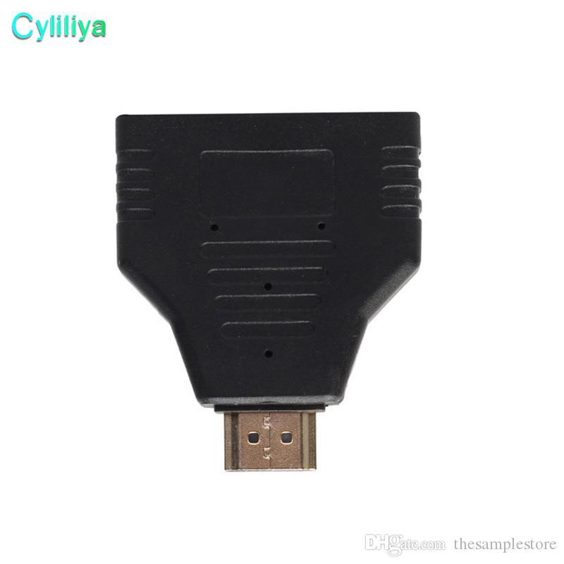 HDMI Erkek HDMI Dişi 1 ila 2 Yollu Splitter Adaptörü HD TV siyah renk için