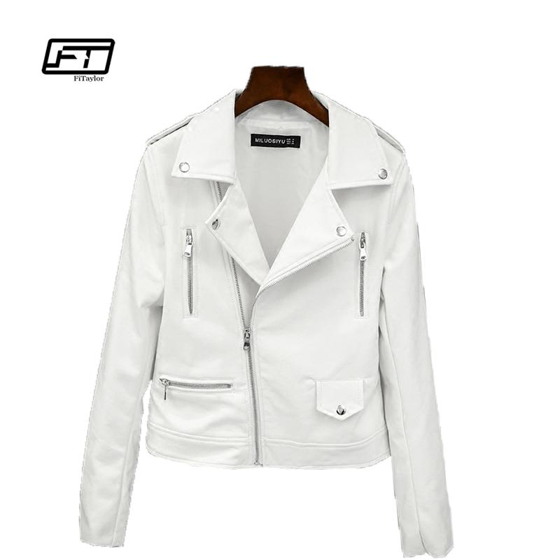 2be50d47657 Fitaylor 2017 New Spring Autumn Women Biker Leather Jacket Soft PU ...