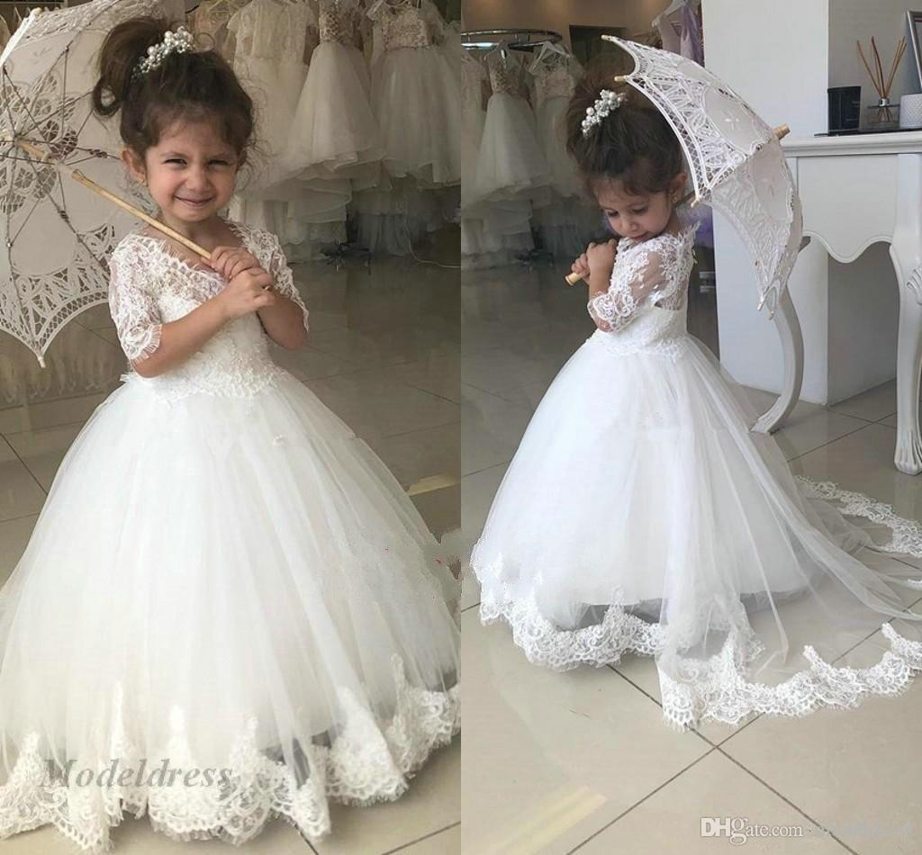 087032a6ed6 White Flower Girls Dresses For Weddings Cute Lace Appliques A Line Half  Sleeves V Neck Little Girls Wedding Dress Children Evening Gowns Flower  Girl Dresses ...