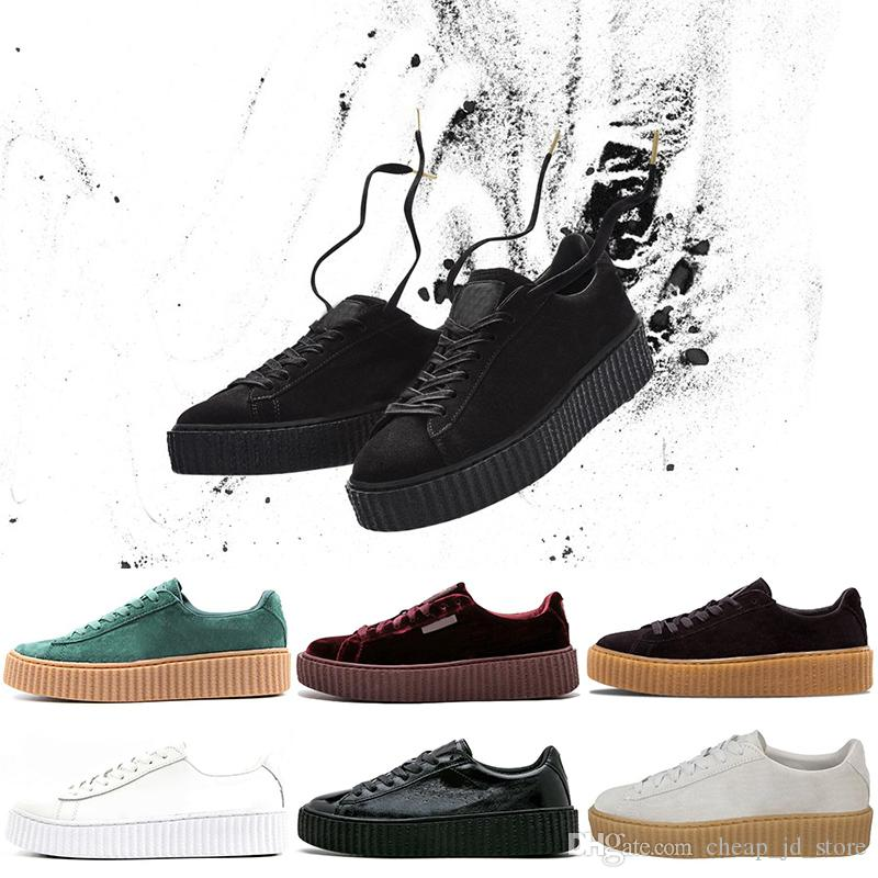 half off 5ec57 b8e9b 2019 Rihanna Fenty Creeper PM Classic Basket Platform Casual Shoes Velvet  Cracked Leather Suede Men Women Fashion mens Designer Sneakers