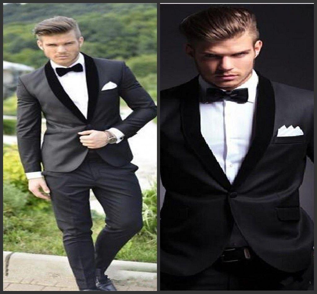 2018 New Groom Tuxedos Custom Made Charcoal Grey Best man Shawl Black Collar Groomsman Men Wedding Suits Bridegroom Jacket+Pants+Bowtie