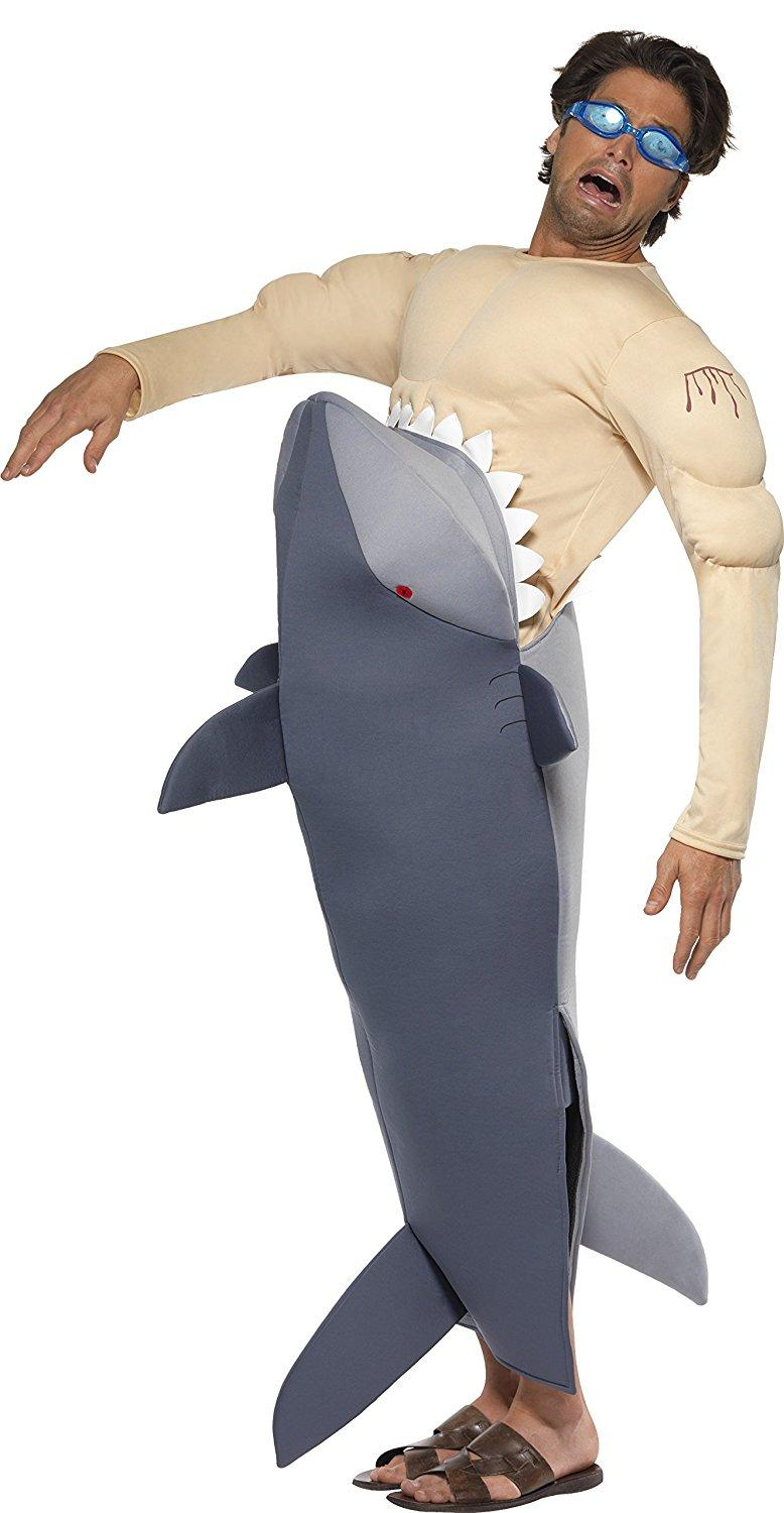 man eating shark costume with shark bodysuit french maid costume