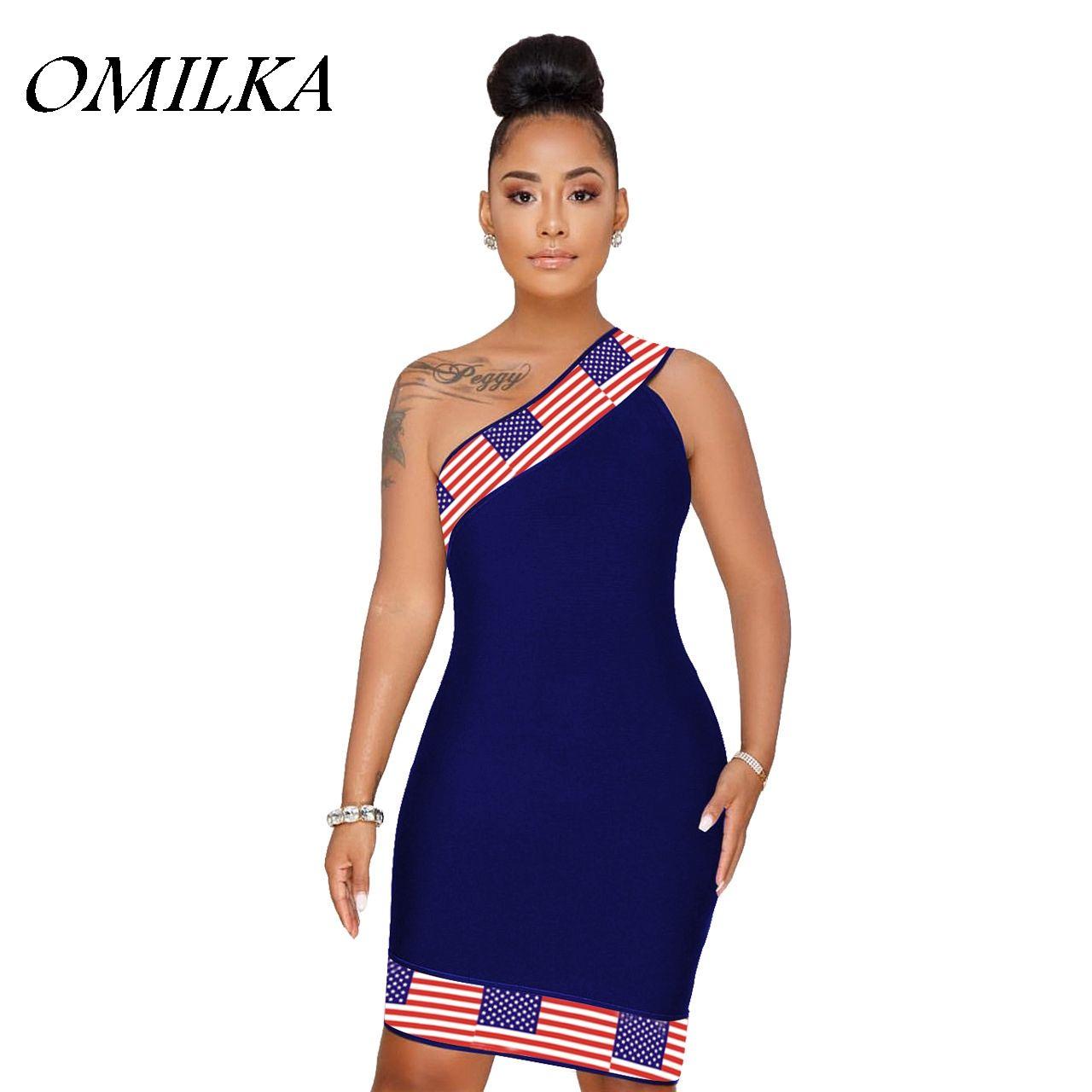 ff09d52aaa0e OMILKA 2018 Summer Women Sleeveless One Shoulder Flag Printed ...