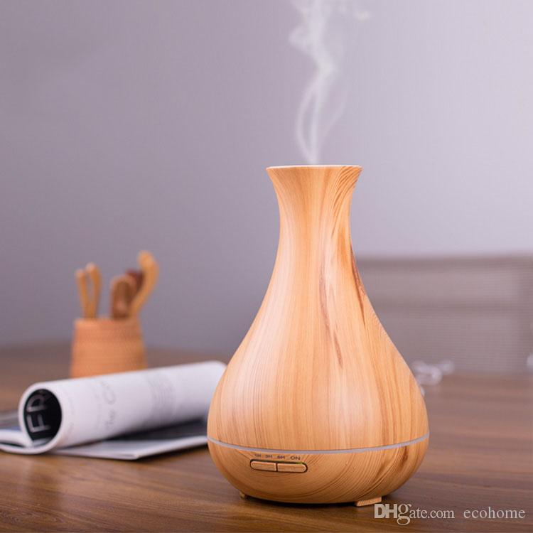 Wood Grain Aroma Essential Oil Diffuser Desktop Ultrasonic Cool Mist Humidifier with LED Lights Waterless Auto Shut-off Office Home