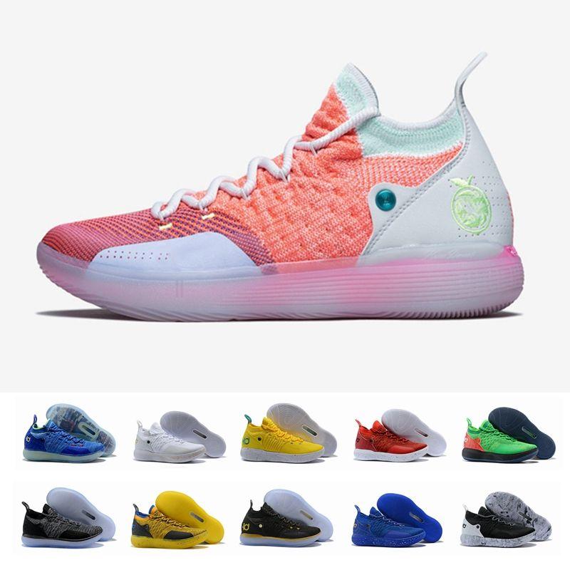size 40 2bcca 7b1b3 Acheter 2018 Nouvelle Arrivée KD 11 EP 10 EYBL Multicolore Bleu Glace Sport Hommes  Chaussures De Basket Ball 11 S Hommes Kevin Durant Baskets Designer ...