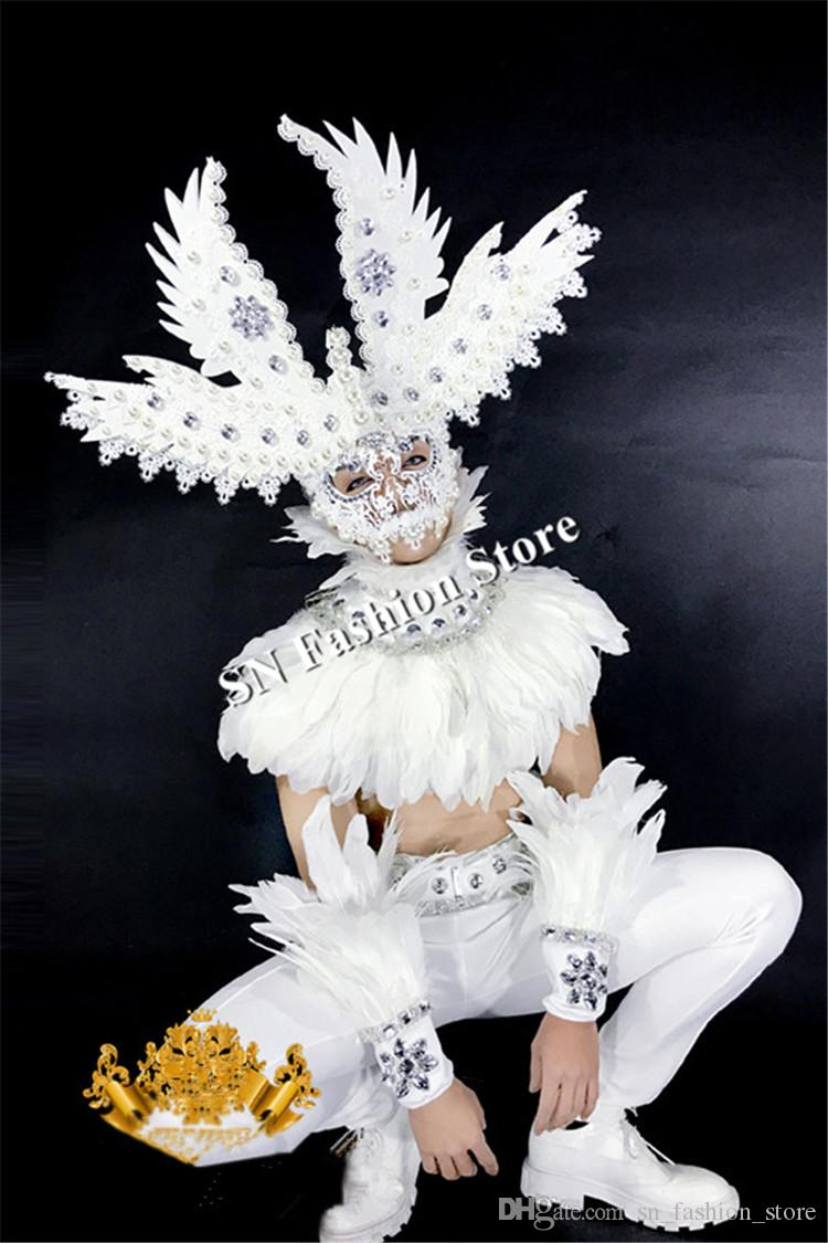 BC75 Balloom dancer led light costume luminous glowing feather headdress mask mens robot dj bar suit stage clothes show party performance dj