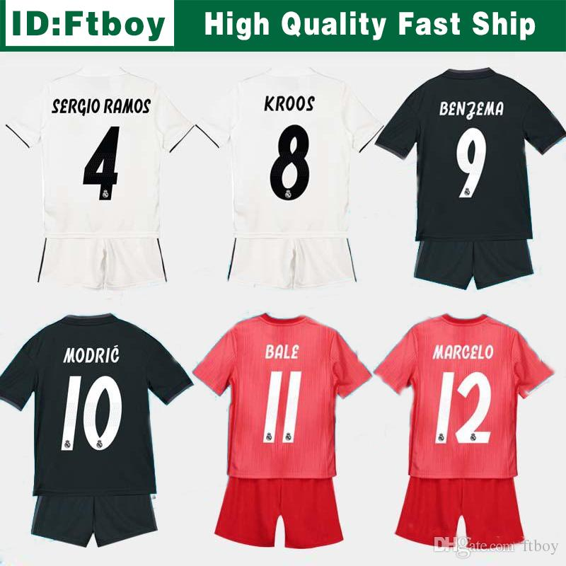 7d8492b44 2019 New 2019 Kids Kit Real Madrid Football Jersey 2018 19 Home White Away  Boy Soccer Jerseys ISCO ASENSIO BALE KROOS Child 3rd Red Soccer Shirts From  Ftboy ...