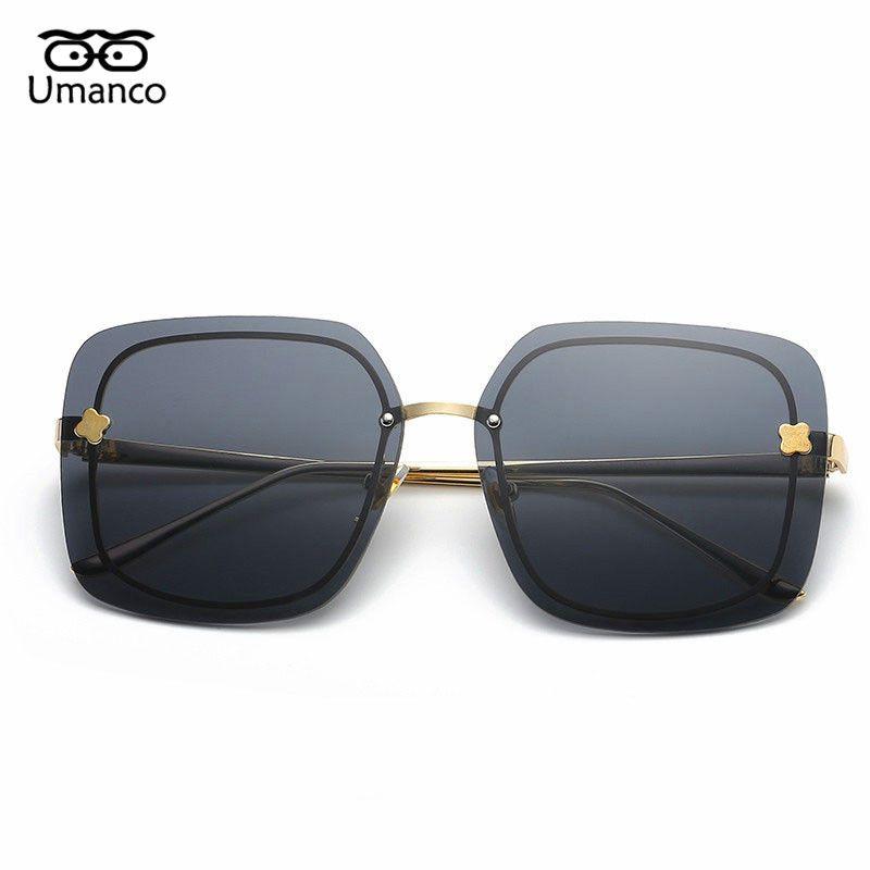 b181d9d8bf8 Umanco Fashion Big Square Sunglasses Women Men Designer Vintage Ladies  Oversize Glasses Metal Eyewear UV400 Glasses Online Polarized Sunglasses  From ...