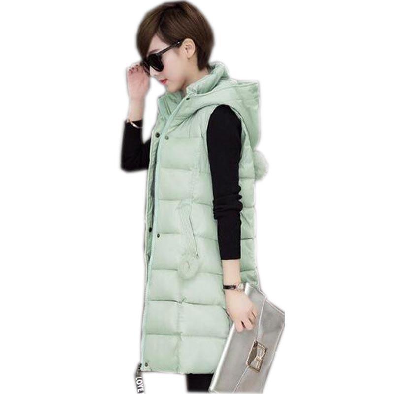 donne inverno gilet 2016 nuovo autunno inverno lungo gilet con cappuccio femminile giù cotone più il formato sottile caldo outerwear gilet kl0576