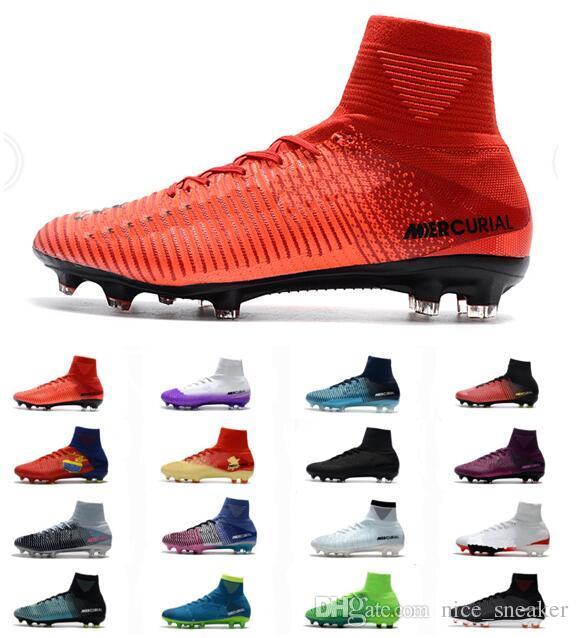 sports shoes 62ad1 ed53b Compre 2018 Mercurial Superfly V FG Fire Rojo Negro Hombres Botas De Fútbol  Zapatos Mercurial Superfly V X Fire Hombres FG Zapatos De Fútbol Zapatos De  ...
