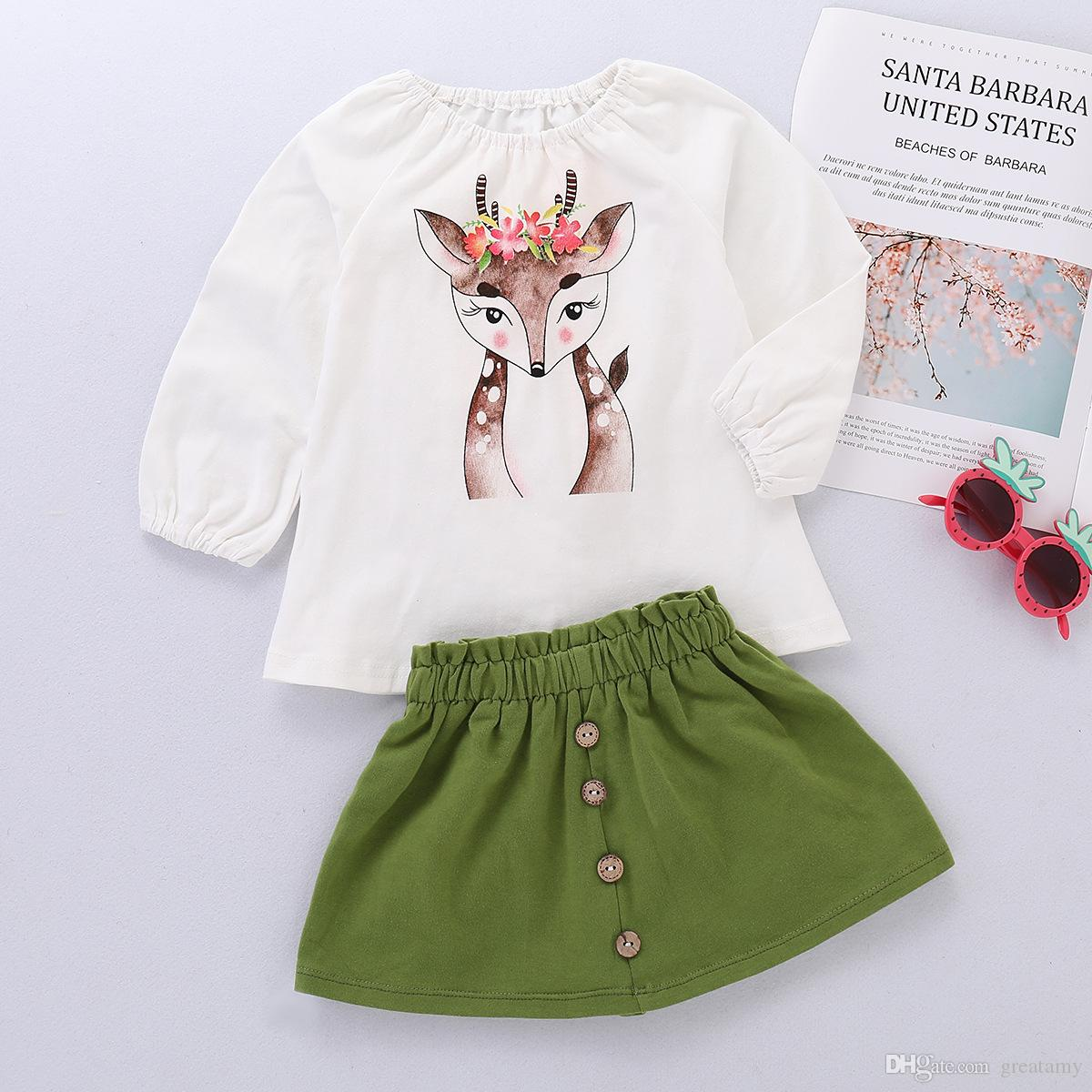 a70850529 Christmas Baby Girls Deer Cartoon Toddler Stylish and fashion design Print  Long Sleeve Tops + girls green Skirt Outfit Set 1-4T