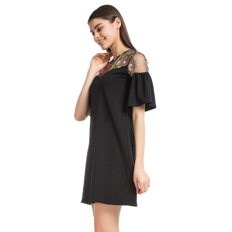 Manga Vestido Verano Casual Partido Patchwork Del Mujer Line Bordado Cuello Malla Negro Recto Corta Elegante O A xdBQoerCW