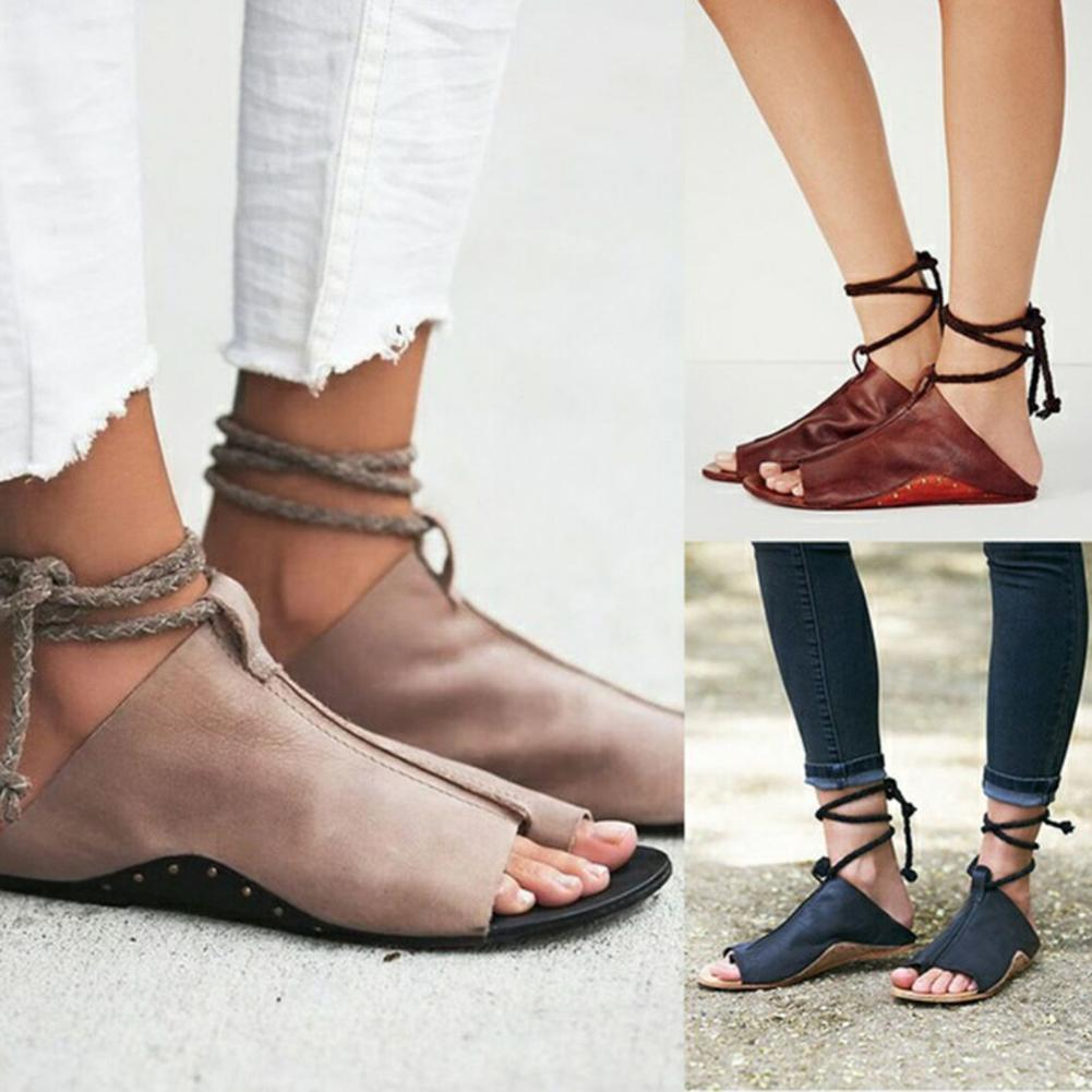 e5aba541a2a7 Fashion Womens Ladies Sandals Flat Lace Up Ankle Tie Diamante Plus Size  Gladiator Shoes Casual Lace Up Flap With Solid Sandals Tan Wedges Fringe  Sandals ...