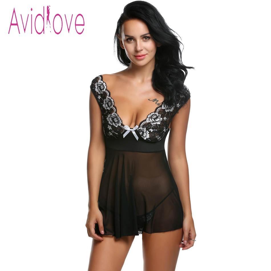 e6855c4c40485 Avidlove Sexy Lingerie Sexy Erotic Hot Roupa Interior Mulheres Malha Rendas  Com Decote Em V Mini Babydoll Vestido Pornô Desgaste do Sexo Trajes  Camisola ...
