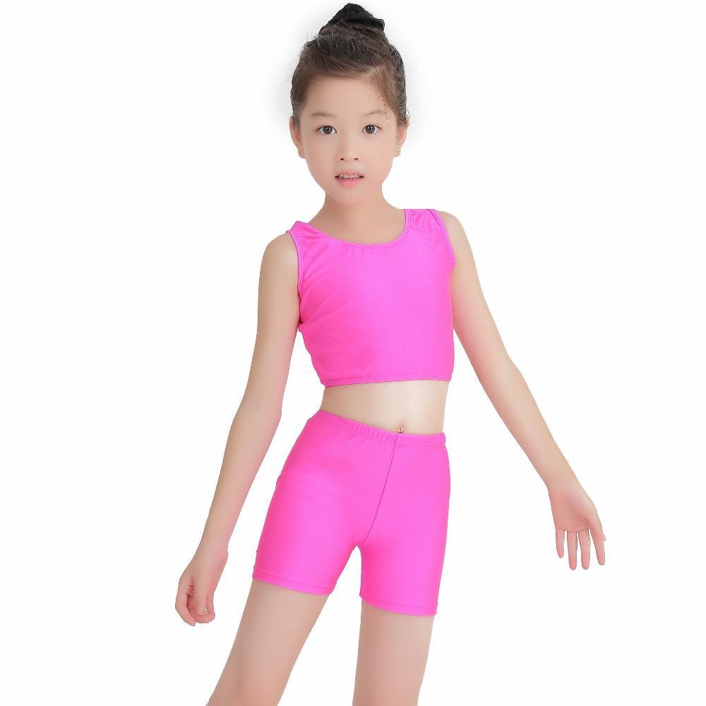 86925ef8bebac 2019 Girls Dance Wear Crop Top And Shorts Nylon Dancewear Jazz Tops Dance  Shorts From Ingridea