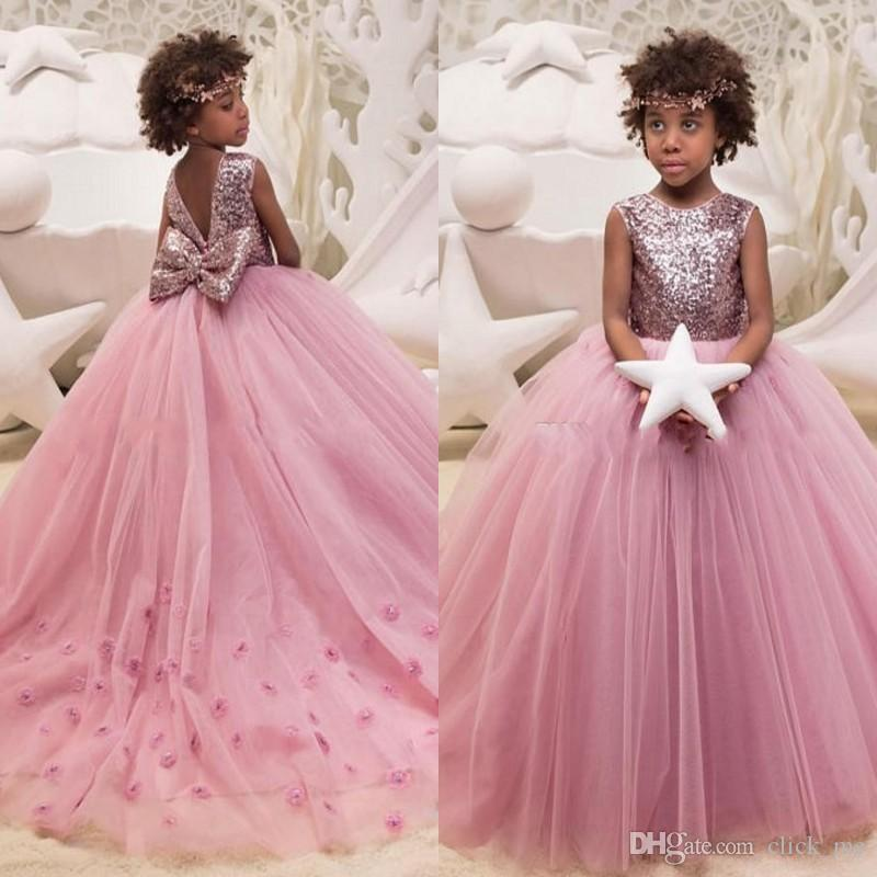 994700d26e44 Sequined Ball Gown Flower Girls Dresses Appliques Back With Big Bow ...