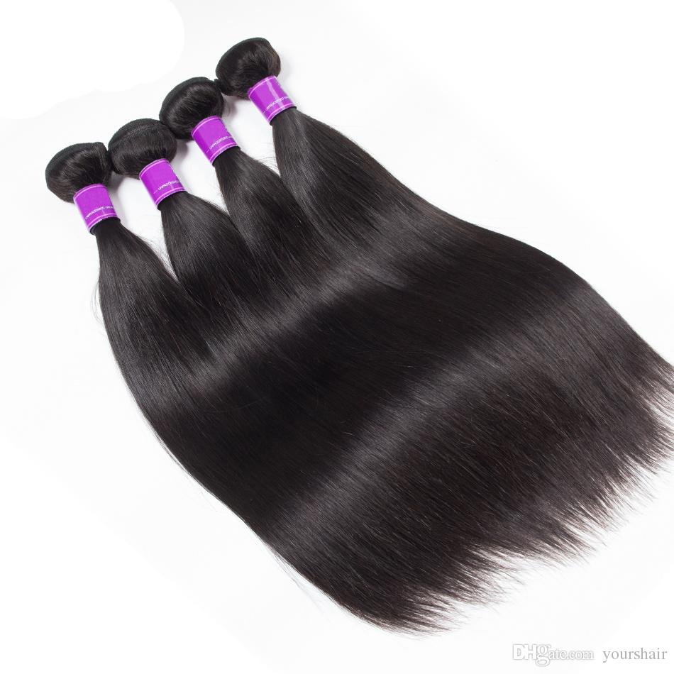 4 Bundles With Lace Closure Mink Brazilian Straight Jet/Natural Black Color Hair Bundles With Closure virgin straight Hair Bundles