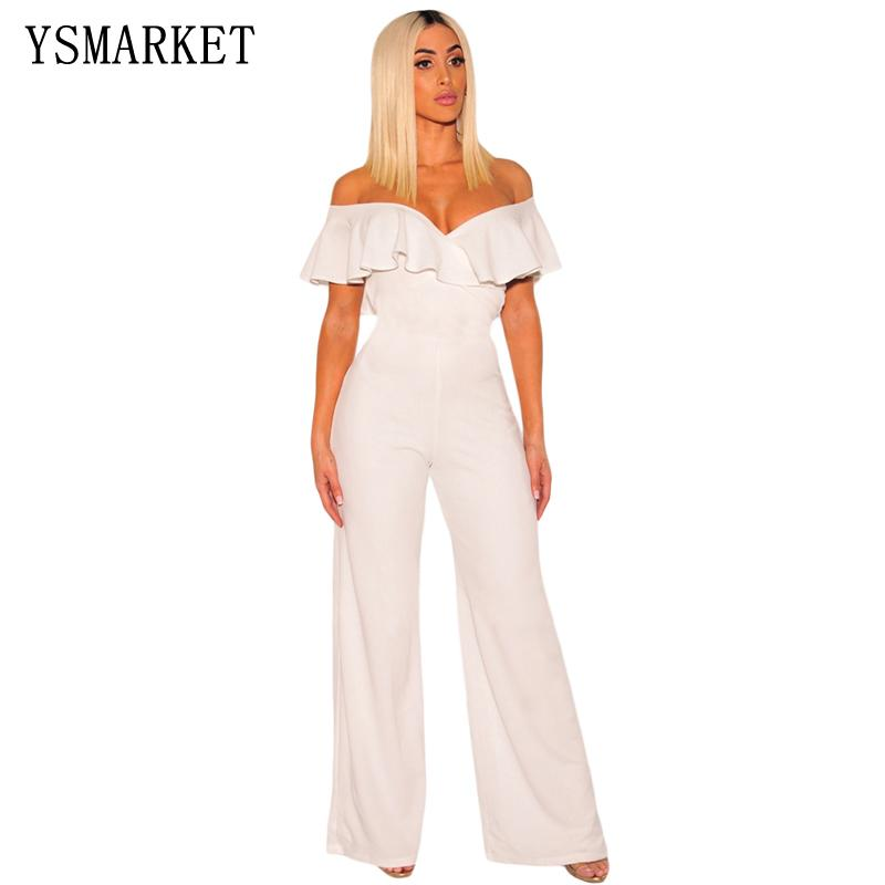 16ee25725fa6 Sexy Off Shoulder Split Wide Leg Rompers Women Slim Waist Party ...
