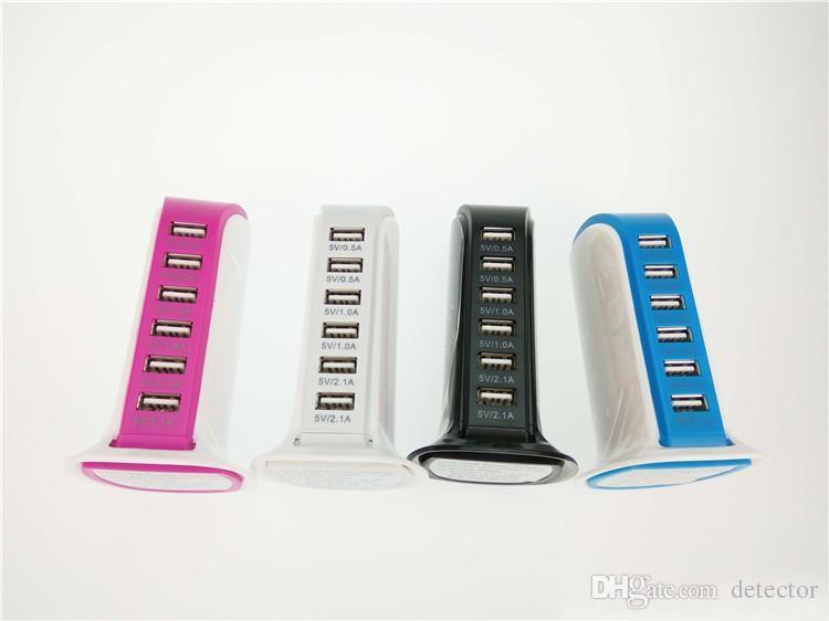 6 USB Ports Multi Ladeanschluss Desktop MultiFunction Wall Schnellladegerät Netzteil mit Kleinkasten