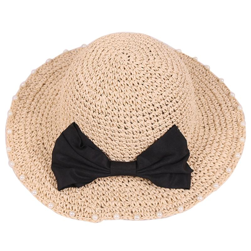 Women Girls Foldable Straw Sun Hat Bohemia Faux Pearl Bowknot Wide Brim Cap  Soft Fishing Hat Wide Brim Fedora From Vintage66 ece28dbfb9f