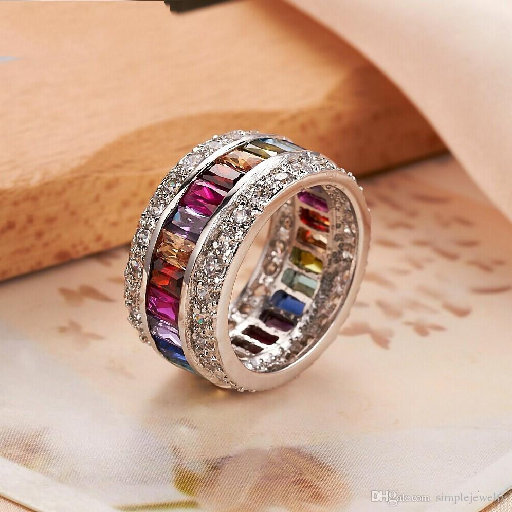 choucong Fine Jewelry Full Mitil Color Gem Diamond 925 sterling Silver Engagement Wedding Band Ring For Women Sz 5-10