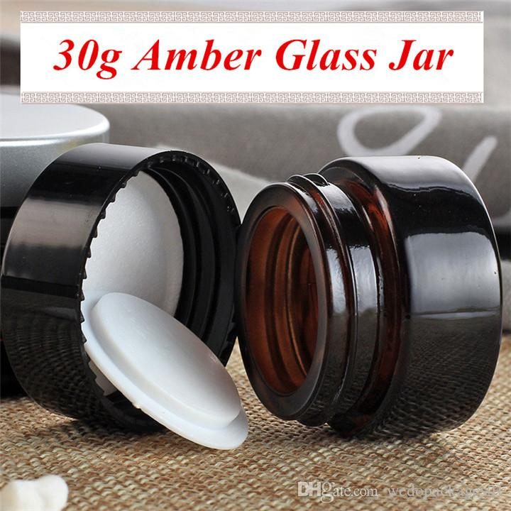 Hotting sale 30g amber cream jar brown color base bottle with black plastic UV screw lid 30ml glass cosmetic jar