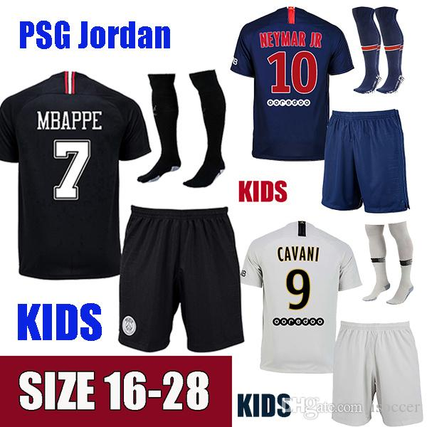 Paris PSG Niños Neymar JR MBAPPE 18 19 Jerseys De Fútbol Neymar Kids Jersey  2018 2019 Dani Alves Camiseta De Fútbol Cavani Di Maria Maillot SILVA  Camiseta ... 845ee423deb63