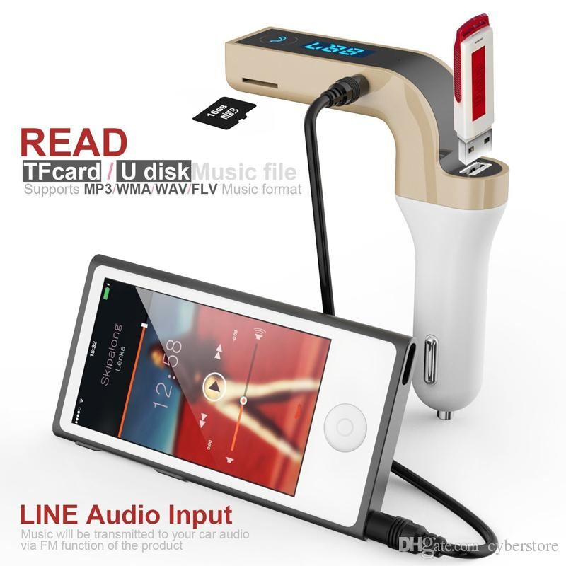 Trasmettitore FM G7 Multifunzione 4-in-1 CAR Bluetooth con lettore MP3 USB flash drive TF Radio con display LCD Mic Vendita calda