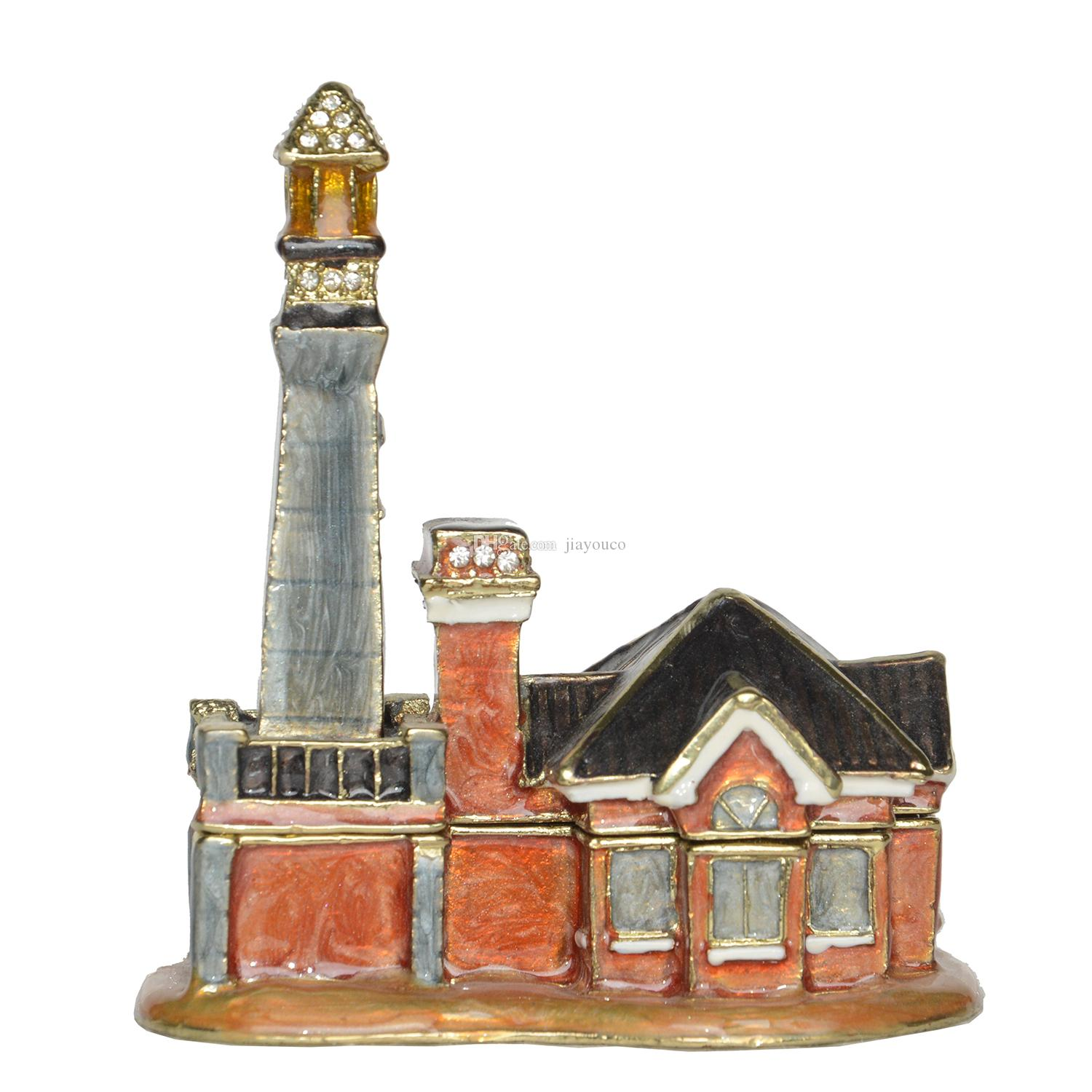 Enamel Hand Painted Light House Jeweled Trinket Box Pewter Collectibles Vintage Decor Novelty Gifts
