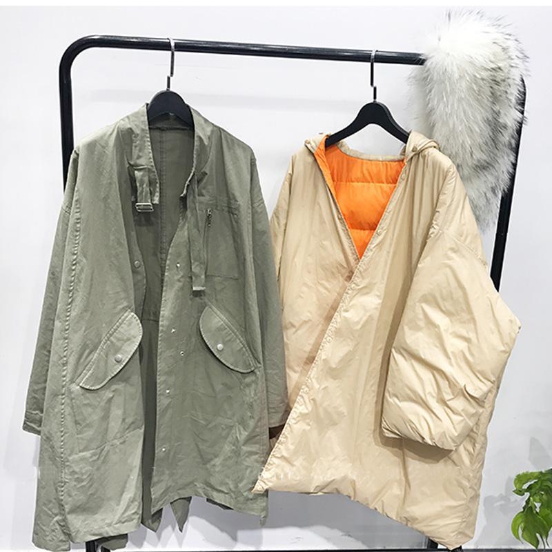 BIg Real Raccoon Fur 2018 New Long Down Parka Female Loose Warm Plus Size Coat Hooded Winter Jacket Women White Duck Down Jacket