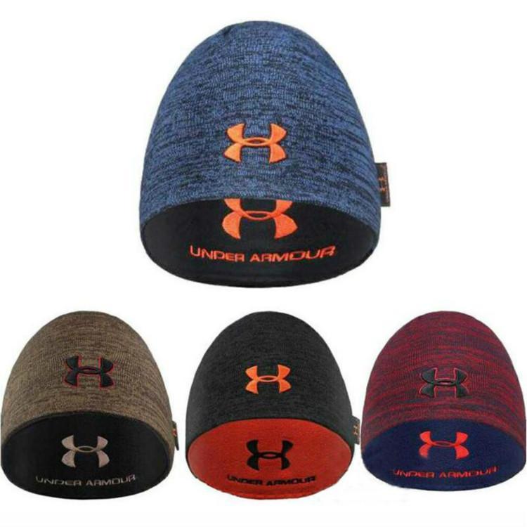 2018 Unisex Brand UA Winter Warm Hat Under Fleece Reversible Beanie Hats  Armor Men Women Outdoor Skiing Hat Warm Hip Hop Knitted Cap Christmas From  ... d143301e0cc