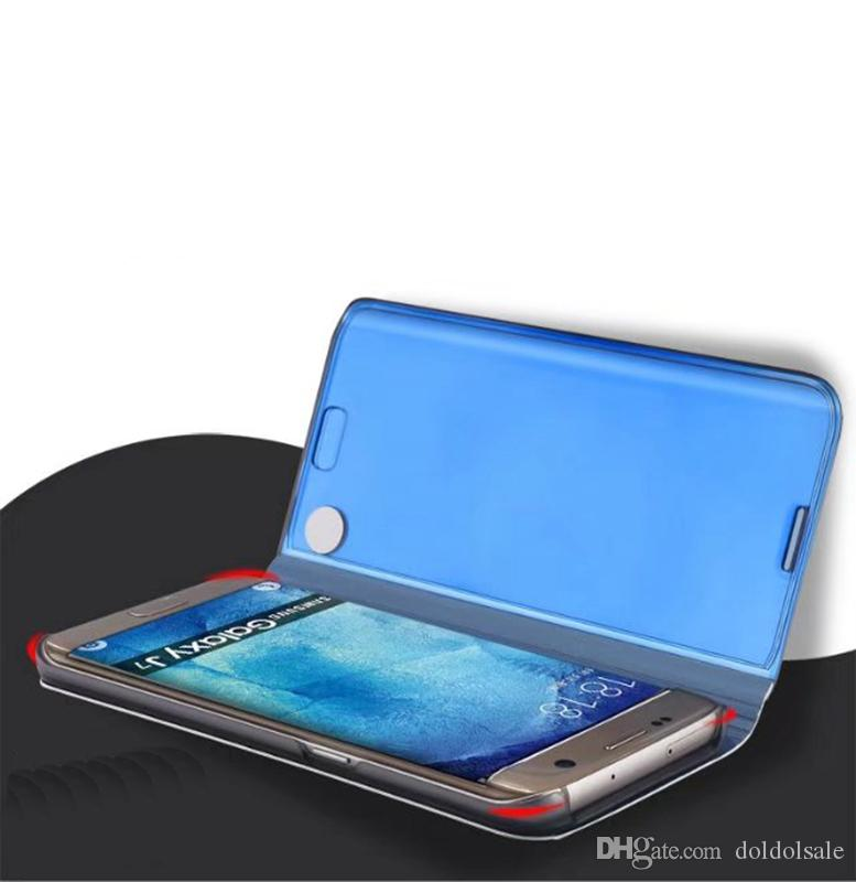 Luxury Mirror Clear View Case for Samsung Galaxy J3 J5 J7 Pro J330 J530 J730 Phone Cover Plating Base Vertical Stand