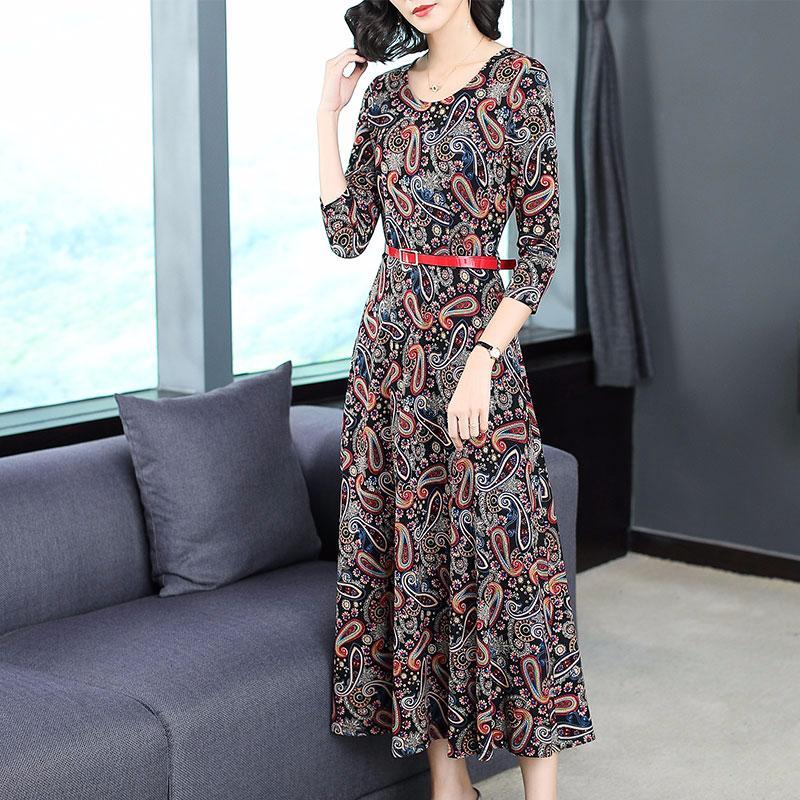 50a3ed0fda467 Satın Al 2018 Yeni Sonbahar Moda Kadınlar Uzun Elbise Üç Çeyrek Kollu Örgü  Baskı Ince Büyük Sarkaç Elbiseler 6938, $49.81 | DHgate.Com'da