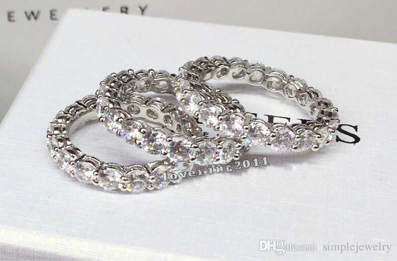 Marque Femmes Bijoux De Mode Plein Rond 4mm Diamant S925 argent Bijoux Bague De Fiançailles De Mariage Bague pour les femmes