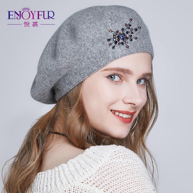 44a138a96bfe ENJOYFUR Марка береты шляпа кашемир вязаные женские зимние шапки высокое  качество ...