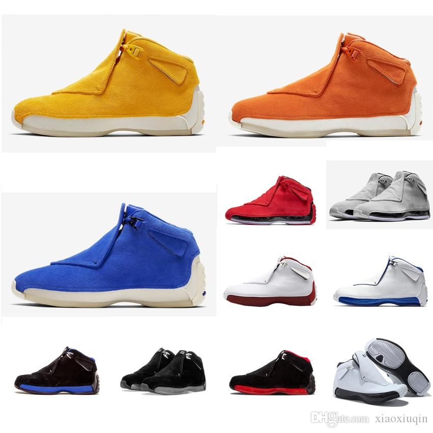 08c665270d17ab 2019 Cheap Men Retro 18s Basketball Shoes Orange Yellow Grey Red Blue Suede  Black AJ18 Jumpman 18 Air Flights Sneakers Tennis Boots J18 With Box From  ...