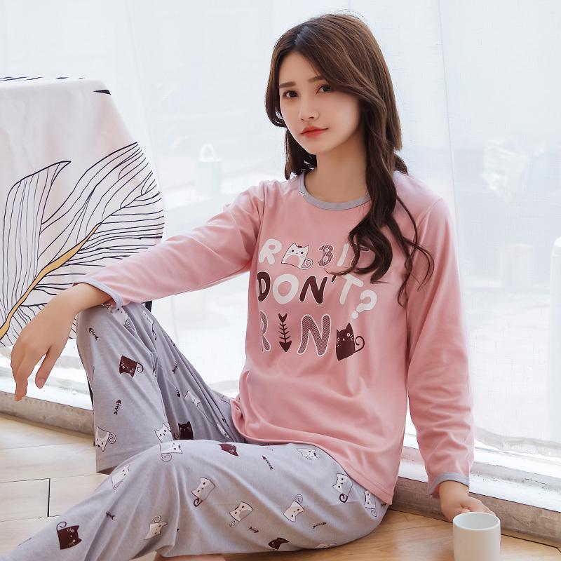 bfa1846197508 Compre Otoño Invierno Manga Larga Pijamas Mujer Traje Mujer Pijamas Mujer  Con Bolsillo Ocio Sueltos Lovelys Conjuntos De Mujeres Pijama De Algodón  Conjunto ...