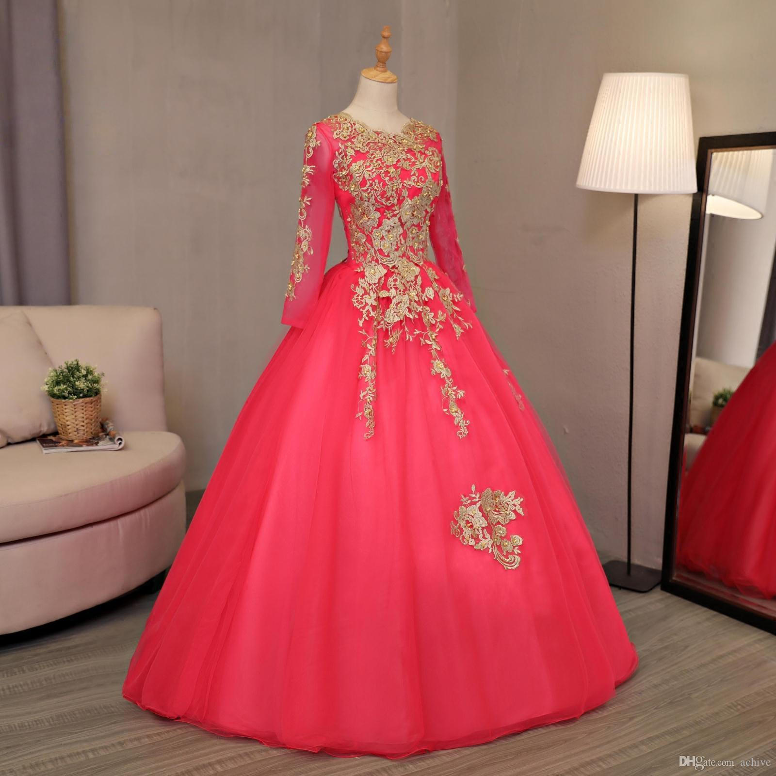 Real Arabic Dubai Ball Gown Prom Dresses Beaded Applique Lace Pearls Long Sleeves Prom Dress Corset Evening Party Gowns 2018 Online Sale