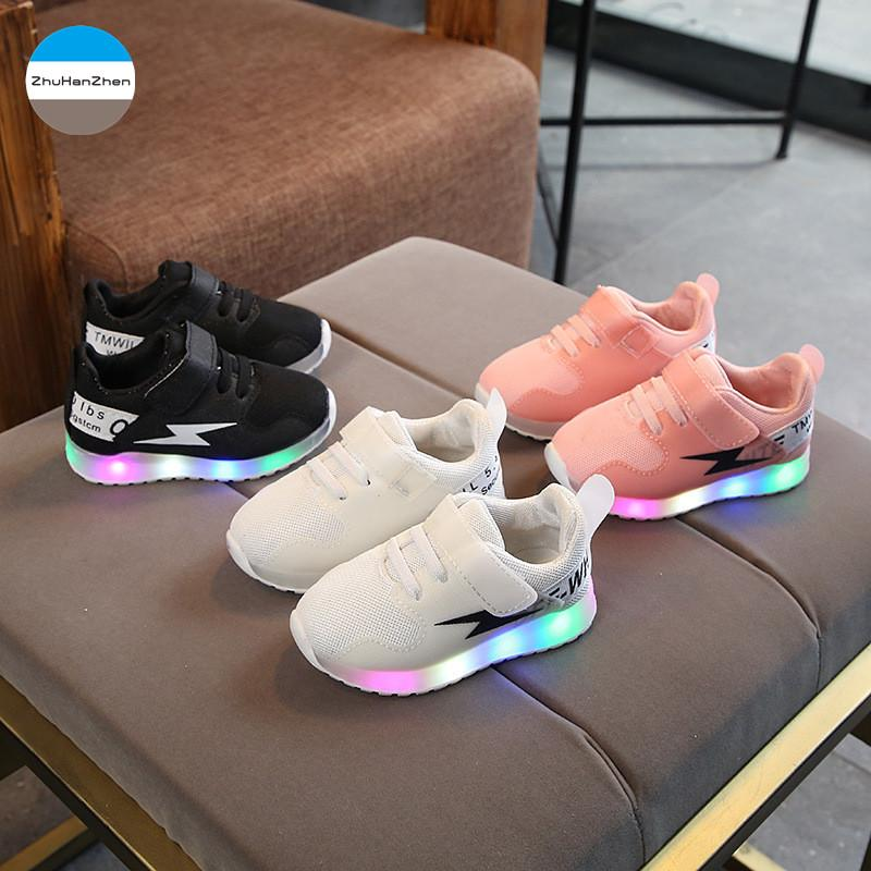 7dc95b14e8f4 2018 New 1 5 Years Old Led Lights Baby Sports Shoes Boys And Girls Running  Shoe Non Slip Newborn Soft First Walk Casual Shoes Running Spikes For Kids  Best ...
