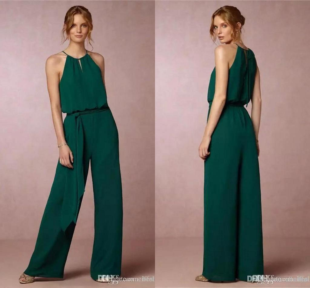 dc181f7d2f4 2018 Country Style Chiffon Cheap Bridesmaid Pant Suits Dresses Halter Neck  Pleats Beach Bohemian Maid Of Honor Wedding Guest Gowns Vestidos Turquoise  ...