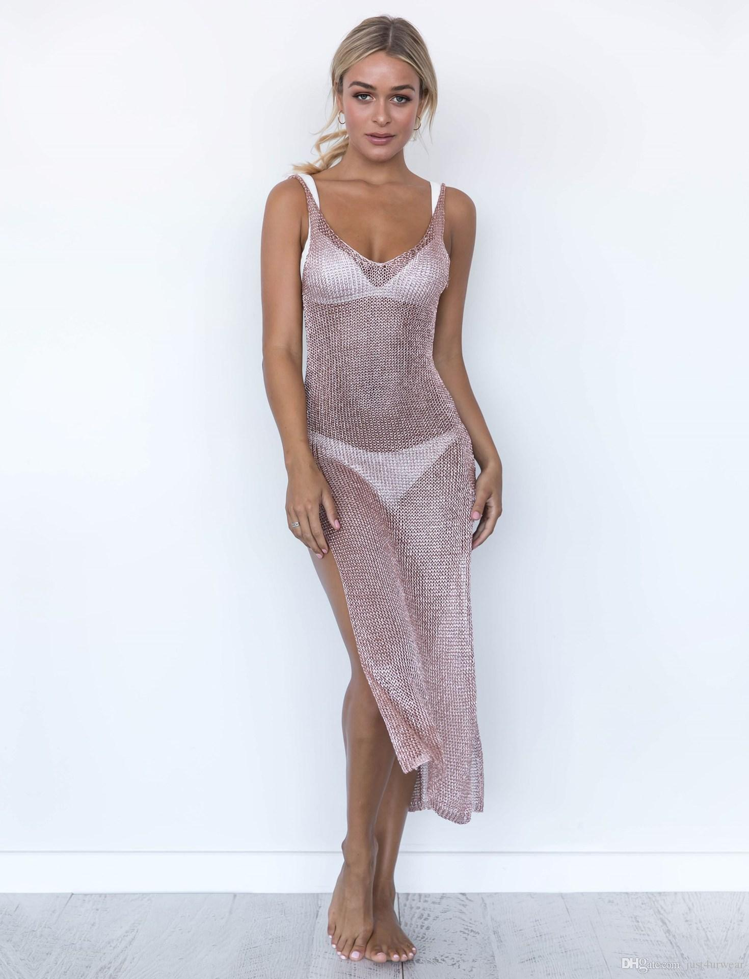 Women Sexy Beach Cover-ups Hollow Out Knitted Split Up Tank Top Long Dress Cover Body Sheath Wear Seaside