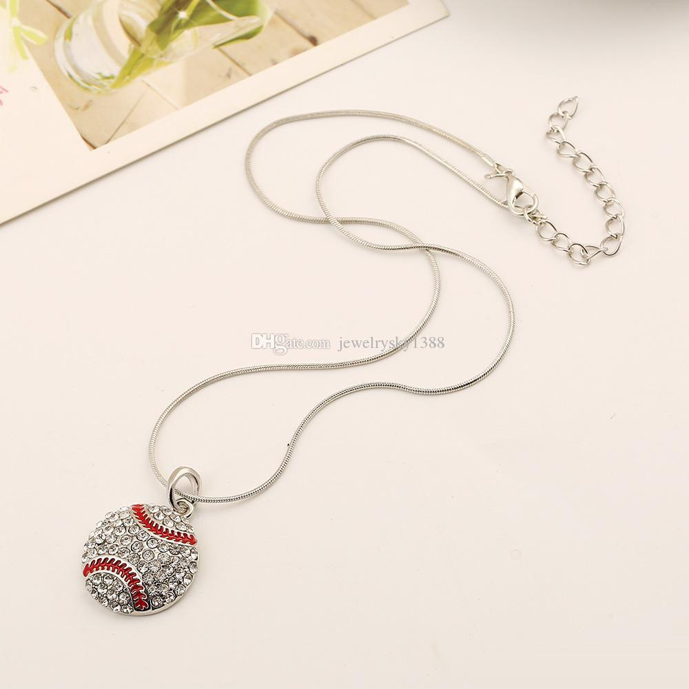 High quality Ball Sports necklace Crystal Rhinestone softball baseball basketball pendant Snake chains For women Men s Fans Fashion Jewelry