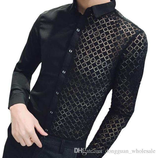 92694108f6a 2019 Lace Patch Shirt Men 2018 New Black White Transparent Shirt White Men  Wedding Shirts Fashion Long Sleeve Slim Fit Shirt 2xl From  Dongguan wholesale