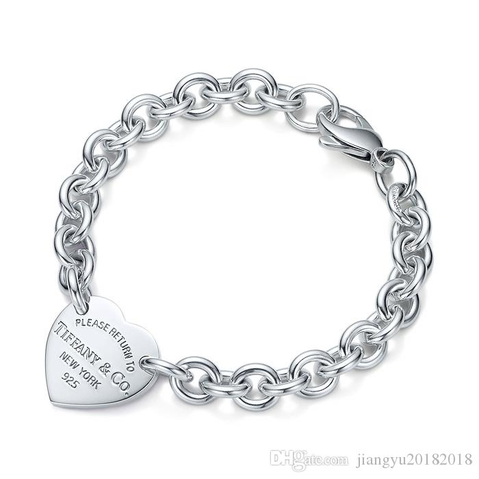 High Quality Celebrity design Silverware bracelet Women Letter Heart-shaped Bracelets Jewelry With Box
