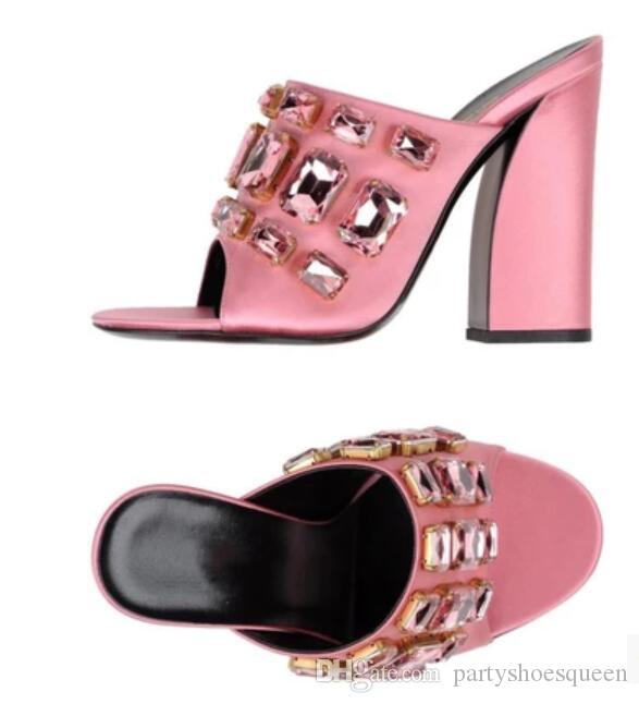 2018 new spring glitter diamond sandals shine crystal pink Sandals Summer slide Sandals chunky heel party Shoes Women
