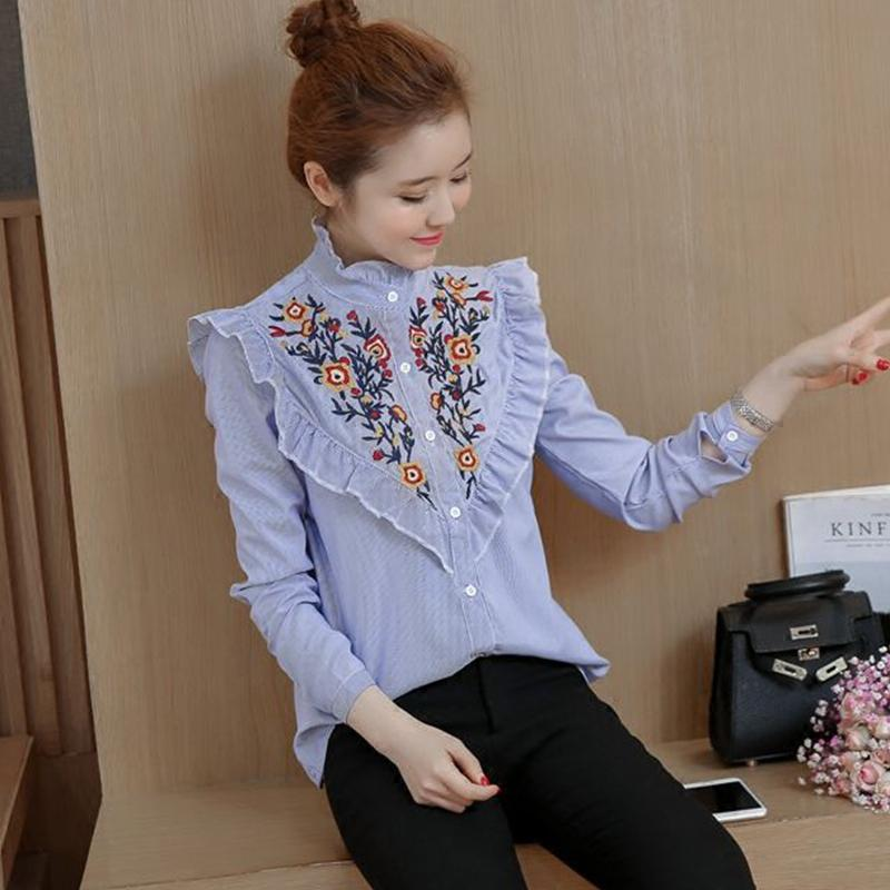 Vintage Embroidery Female Blouse Shirt Casual Blue Striped Shirt Ruffles Stand Collar Long Sleeve Women Tops White Blusas 2017