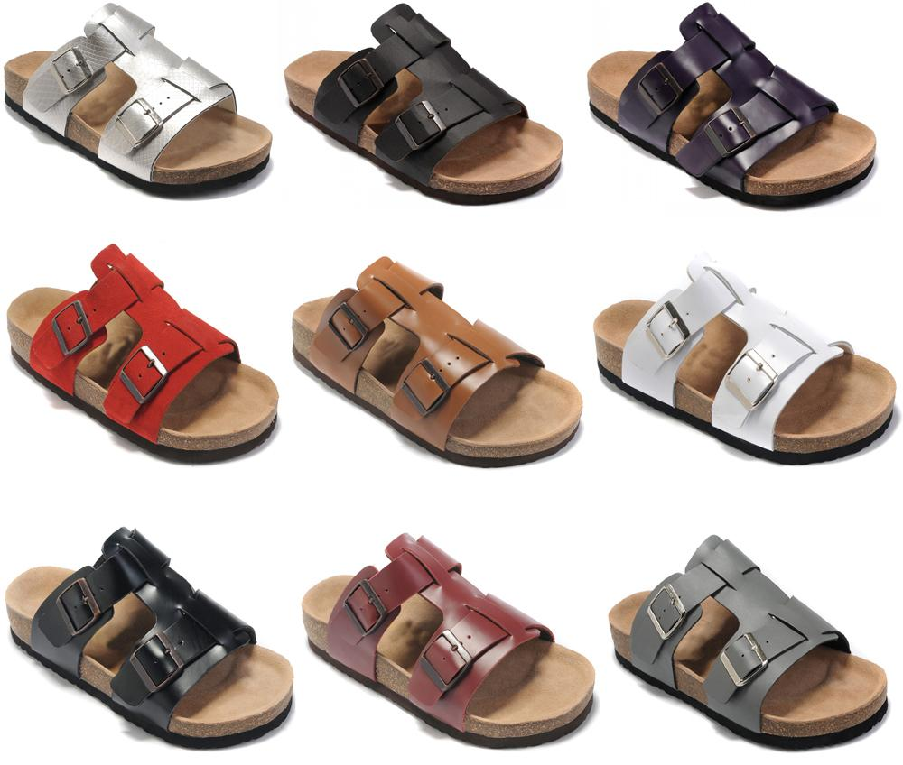 bb876f548 Arizona Style With Orignal Box Men S Woman Famous Brand Flat Sandals  Comfortable Casual Two Buckle Summer Beach Genuine Leather Slipper Fur  Boots Glass ...