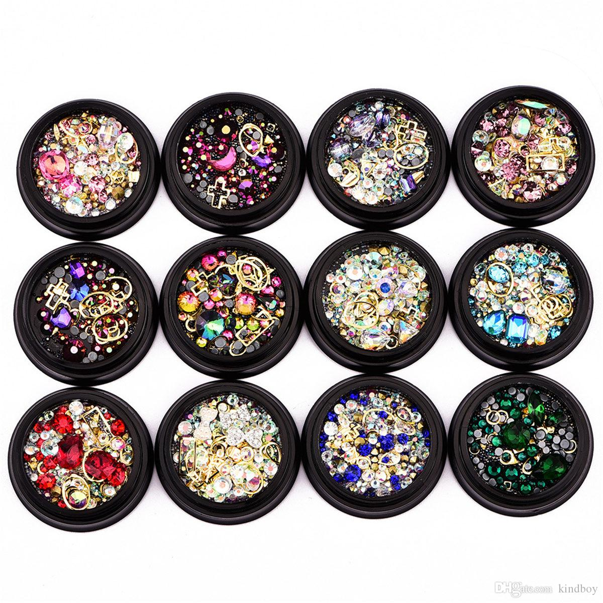 1 Box Mixed Nail Design Colorful Micro Beads And Gemstone Circle 3d