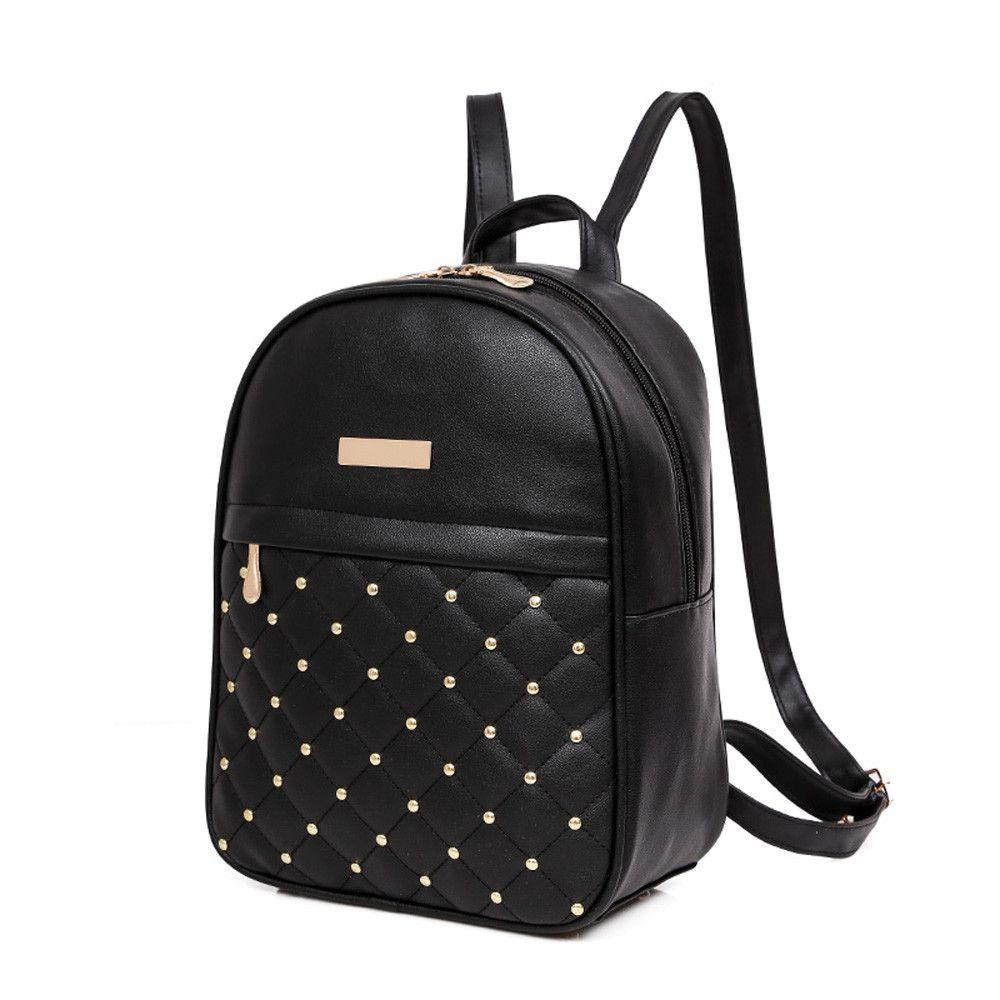 Women Rivet Girls Backpack Fashion Leather Backpack Causal Bags Bead Female  Back Pack School Shoulder Bag Backpacks Backpacks For School Laptop  Backpacks ... bad0297091