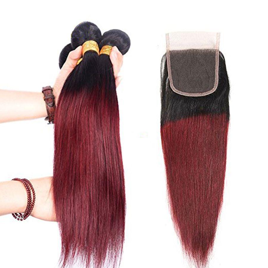 8A Ombre brasilianisches seidiges gerades Jungfrau-Haar spinnt zwei Ton 1B99J Burgunder-Wein-rote peruanische malaysische 3 Bündel mit Schließung /